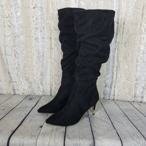 Apt. 9 Womens Black Slouchy High Heel Boots NWOB